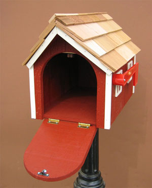 Amish Barn Mailbox Open