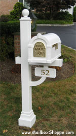 White Brass Keystone Mailbox Deluxe Plus