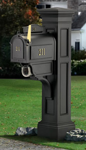 Black Liberty Mailbox Post