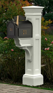 White Liberty Mailbox Post