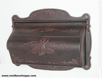 Antique Copper Cast Floral Leaf Mailbox