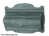 Antique Verde Green Cast Floral Leaf Mailbox