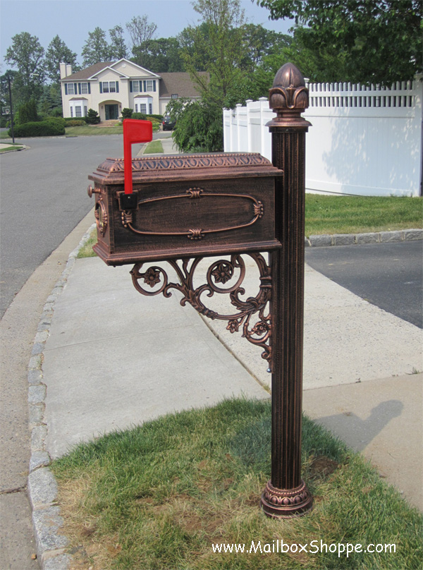 P18 post with cast akuminum mailbox in antique bronze color